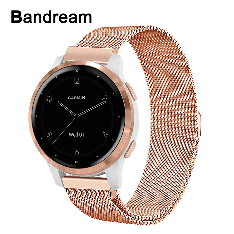 Milanese Loop Stainless Steel Watchband For Garmin Vivoactive 4 / 4S /Venu/Luxe/Style/ Vivomove 3 /3S/HR Watch Band Magnet Strap