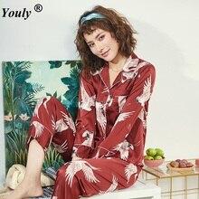 Plus Size Red Pyjamas Set M-5XL Women Silk Satin Pajamas Long Sleeve Sleepwear Pijama Suit
