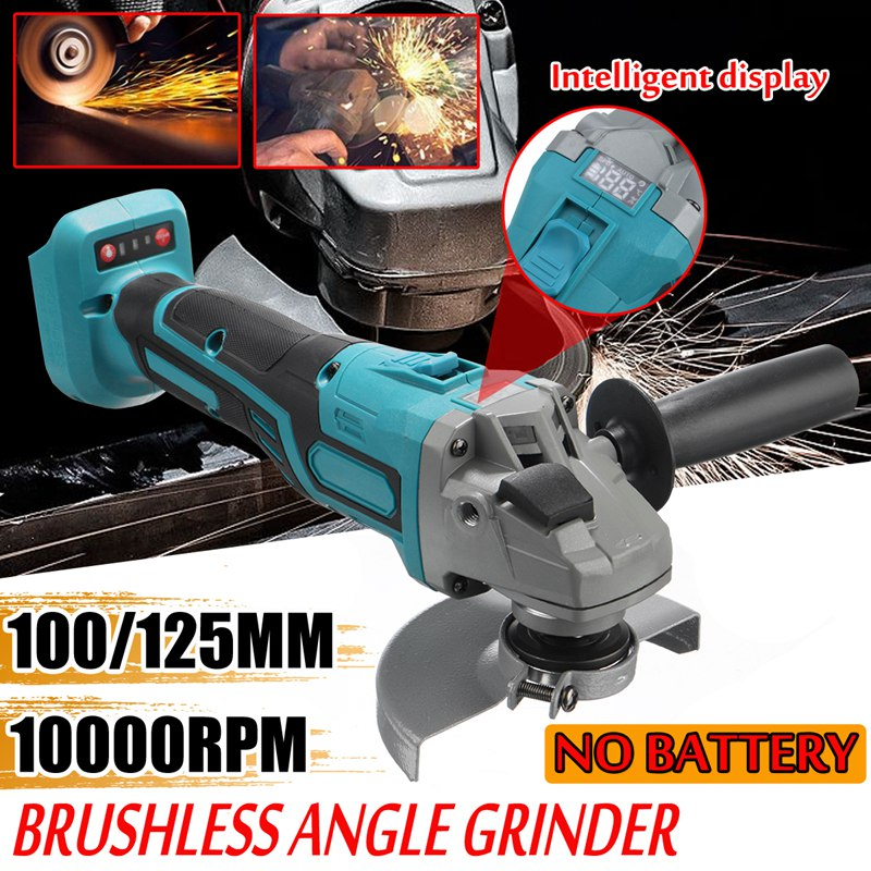 125/100mm Brushless Electric Angle Grinder Grinding Machine Cordless Woodworking Metal Cutting Power Tool For 18V Makita Battery