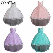 It's Yiya/Платья с цветочным узором для девочек, 6 цветов, без рукавов, с круглым вырезом, со шлейфом, нарядные платья для девочек, детское праздничное бальное платье с аппликацией, 2005