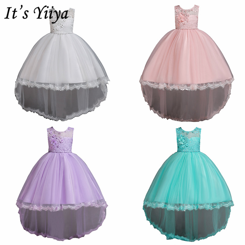 It's YiiYa Flower Girl Dresses 6 Colors Sleeveless O-Neck Court Train Girls Pageant Dresses Appliques Kids Party Ball Gown 2005