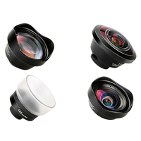 FFYY PHOLES 4 In 1 Cell Phone Camera Lens Kit Wide Angle Telephoto Lens Macro Fisheye Lenses For Iphone Xs Max X 8 Huawei P20 Pr|Camcorder Lenses|   -