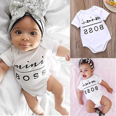 Baby Romper Newborn Kids Infant  Baby Boy Girl Clothes Cotton Short Sleeve Mini Boss Printed Jumpsuit Outfit 3-18 Months 3