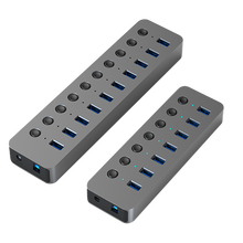 Blueendless USB 3,0 концентратор, разветвитель с несколькими портами USB 7/10, расширитель с несколькими портами USB 3,0, адаптер питания 12 В, USB3.0 концентра...