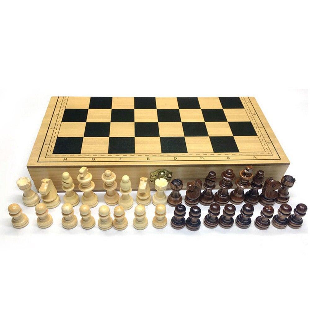 Échecs en bois en bois damier pièces en bois massif pliant échiquier haut de gamme Puzzle jeu d'échecs divertissement enfants cadeau de noël