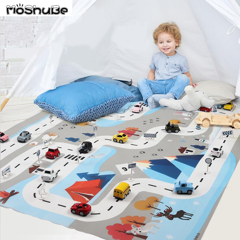 Ins Educational Toys Nordic Gym Play Mat White Blue 130*100 Children's Traffic Parking Lot Map Car Portable Animals Game Pad