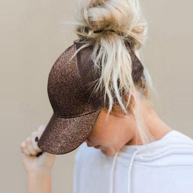 Glitter Ponytail Baseball Cap Women Snapback Hat Mesh Caps Messy Bun Summer Hat Female Hip Hop Hats Casquette