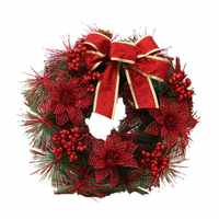 Christmas Decoration Wreath 30cm Christmas Wreath Door Hanging Christmas Wreath Christmas Vine Ring PVC Christmas Wreath