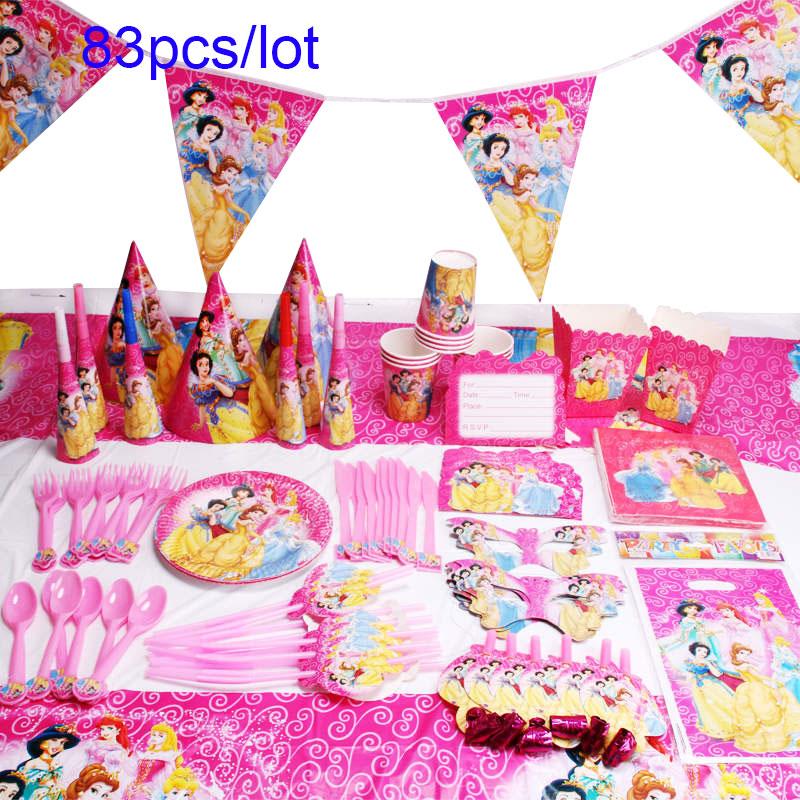 Disney Six Princess Belle Theme Design 83Pcs/Lot Disposable Tableware Sets Girls Birthday Party Theme Party Decoration Supply