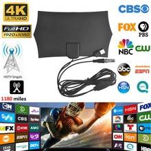 Antenne numérique intérieure amplifiée HDTV 4K, portée de 1180 Miles, avec HD1080P T2 freevew, pour la diffusion de chaînes locales