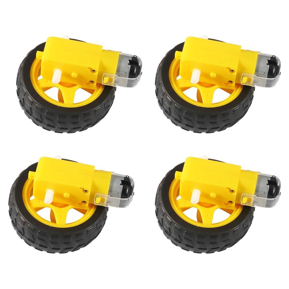 DC Electric Motor with Plastic Toy Car Tire Wheel 3-6V Dual Shaft Geared TT Magnetic Gearbox Engine