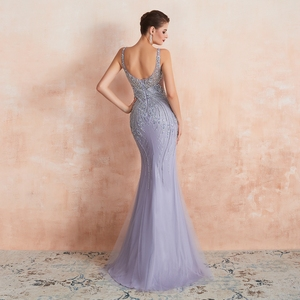 Image 2 - Lavender Evening Dresses 2020 Mermaid Sleeveless Long Formal Dress Women Elegant Beaded Crystal Sheer Neck Sweep Train Prom Gown