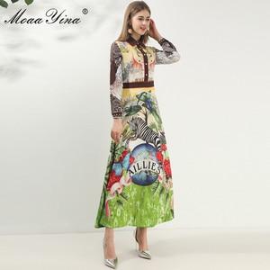 Image 3 - MoaaYina robe de créateur de mode printemps automne femmes robe à manches longues Animal imprimé fleuri Vintage Maxi robes
