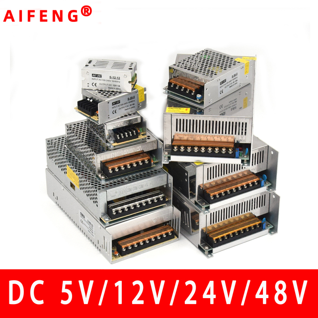 AIFENG switching power supply 110V/ 220V to 5V 12V 24V 48V led power supply CCTV / LED Strip  AC to DC source power Adapter