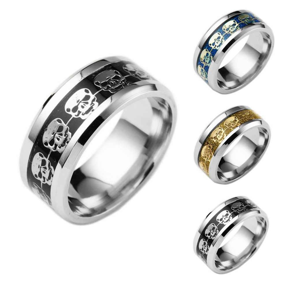 Stainless Steel Cincin Tengkorak Emas Biru Hitam Kerangka Pola Pria Biker Berdering Cincin Fashion untuk Pria Hadiah Perhiasan Pria