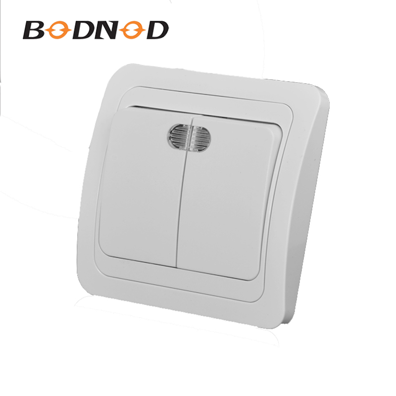 Light Two Switch Two Gang Switch With Indicater White Color European Inset Wall Switch DIY 10A 250V Legrand Schneider Livolo(China)