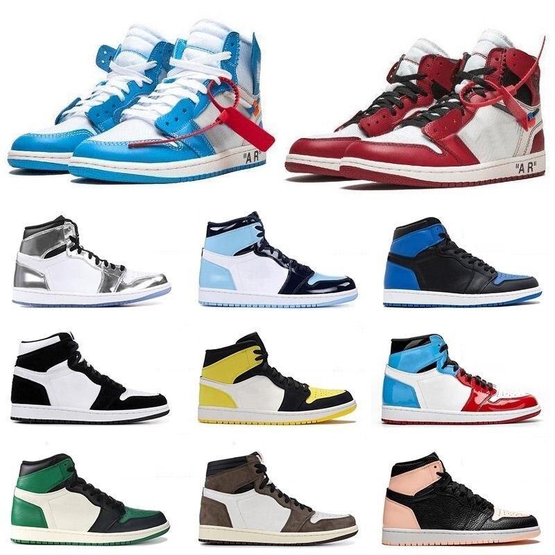 Original High Men Women 1s Off Basketball Shoes Sneaker Chicago 1s Travis Scotts Spiderman UNC Sport University White Blue