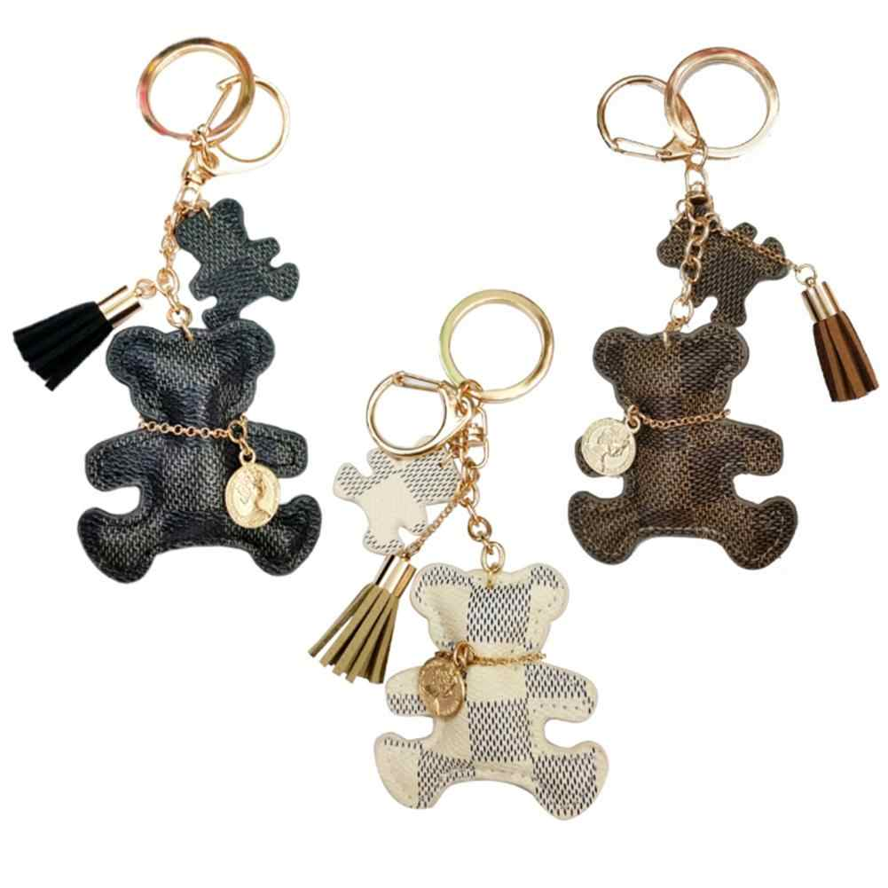 Women Lovely Bear Pendant Key Chains Car Key Ring Leather Tassel Bag Purse Jewelry Ladies Casual Gold Keychains Gift Key Ring fo