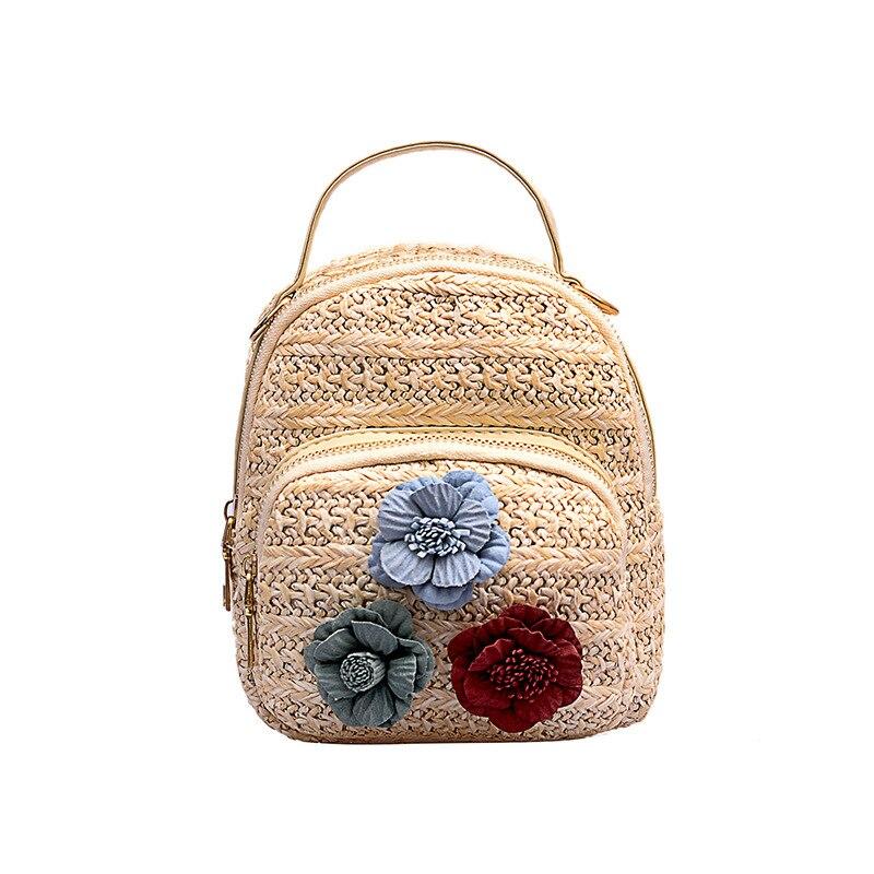 5PCS / LOT Straw Knitting Small Backpack New Woven Women Korea Style Multifunction Mini Backapck Knapsack Mochilas