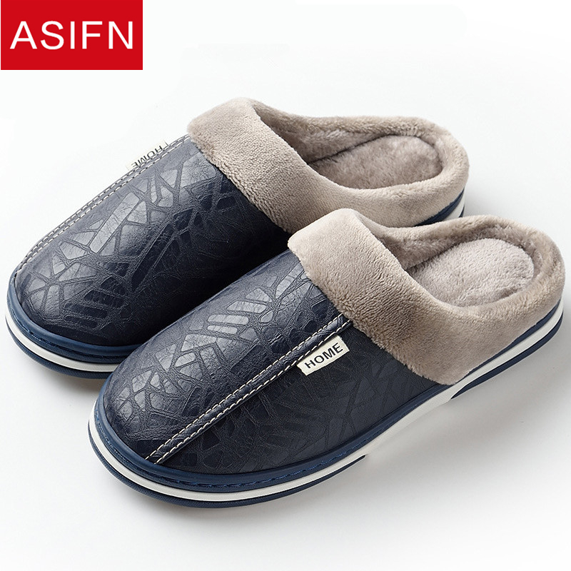 ASIFN Big Size Men Slippers With Fur Women Winter PU Leather Waterproof Warm Home Slipper Male Indoor Cotton Flip Flops Shoes