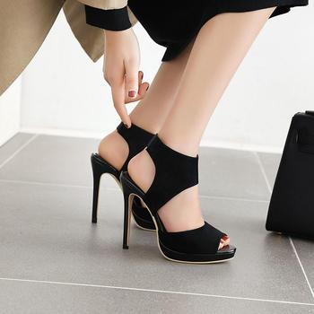 Summer new style 12 cm suede new style fish mouth wedding high heel sandals big size 33-50 image