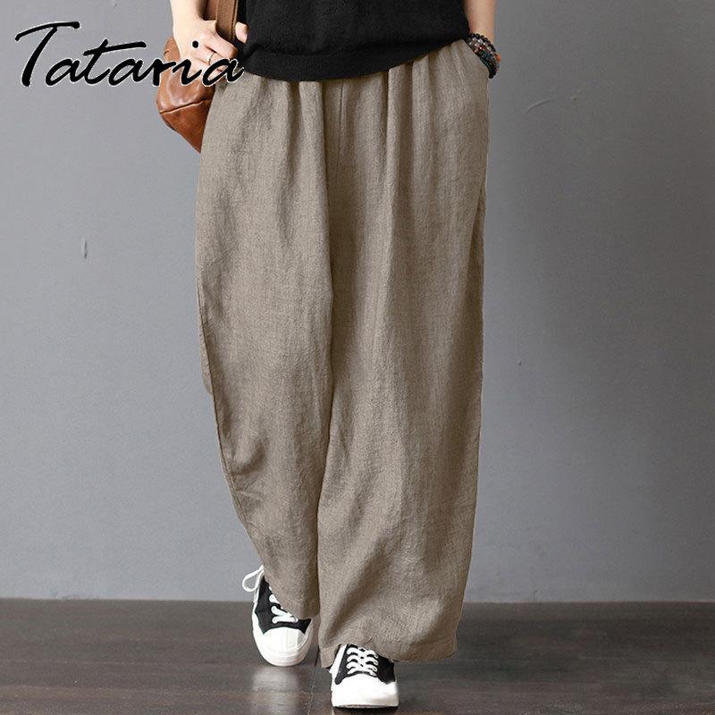 Женские хлопковые льняные брюки с высокой талией размера плюс, повседневные свободные широкие брюки цвета хаки, женские элегантные уличные...