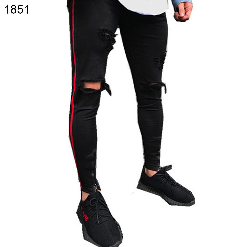 Mens Cool Designer Brand Black Jeans Skinny Ripped Destroyed Stretch  Hop Hop Pants With Holes For Men