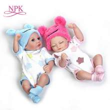 цены NPK 11'' Mini Reborn Babies Girl boy Full Silicone Vinyl Cute twins bebes Dolls Lifelike Bebes Reborns For Toddler Bathing doll