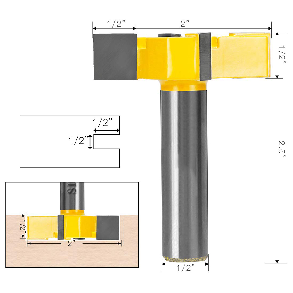 CNC Spoilboard Surfacing Router Bit 1/2 Inch Shank Carbide Tipped For Wood Woodwork Cutting Tools