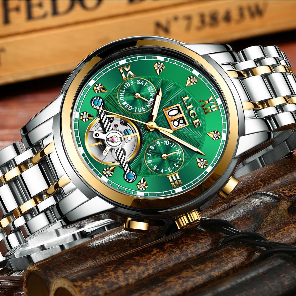 LIGE véritable montre hommes automatique mécanique Tourbillon montre de luxe en acier inoxydable Sport montres hommes Relogio Masculino - 3