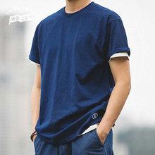 Maden – T-Shirt 100% coton teint en bleu pour homme, vêtement d'été, Ami Kaji, basique, fin, à manches courtes