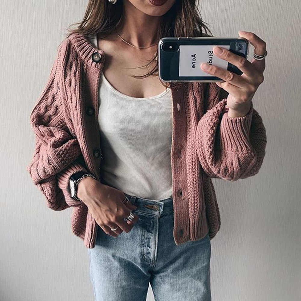 Knitted Cardigan Short Sweater Women Winter Elegant Long Sleeve Female Korean Warm Outwear Jumper 2019 Knit Wear Stylish Top