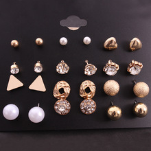 2019 Special Offer New Tin Alloy Brincos Oorbellen Earing Earrings Set 12 Square Zircon On Board Peach Manufacturer Wholesale