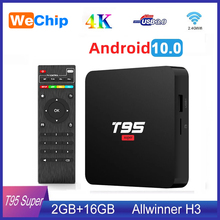 TV Box T95, Android 10, dispositivo de TV inteligente, superinteligente, Allwinner H3, GPU, G31, 2GB, 16GB, WiFi, inalámbrico, 4K, Youtueb, reproductor multimedia HD