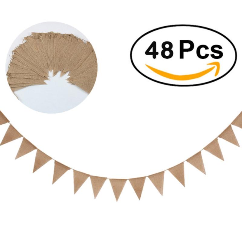 Джутовая веревка с флагом, белая, 48 шт., украшение «сделай сам» для рождественской вечеринки, детского сада, дома, вечеринки, свадьбы