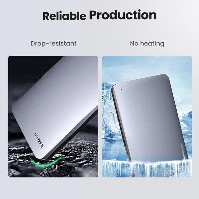UGREEN HDD Case 2.5 6Gbps SATA to USB C 3.1 Gen 2 External Hard Drive Box Aluminum Case HD For Sata Hard Disk SSD HDD Enclosure 6