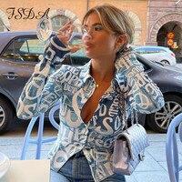 FSDA-camisetas de manga larga con estampado de letras para mujer, camisetas sexys azules con cuello de pico negro Y2K, Tops cortos informales a la moda 2021