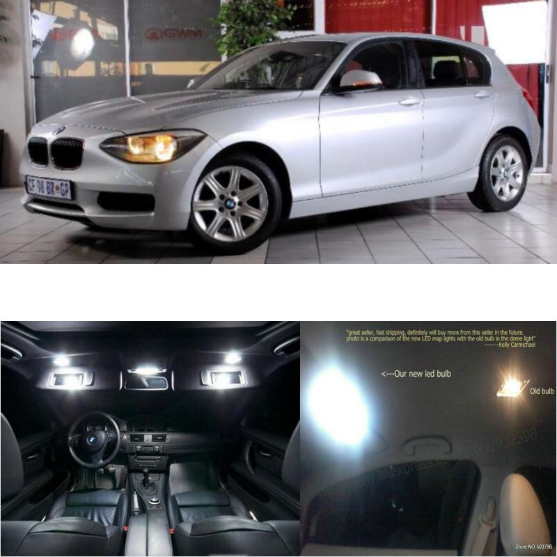 LED Interior Car Lights For Bmw F20 2013+  Room Dome Map Reading Foot Door Lamp Error Free 4pc