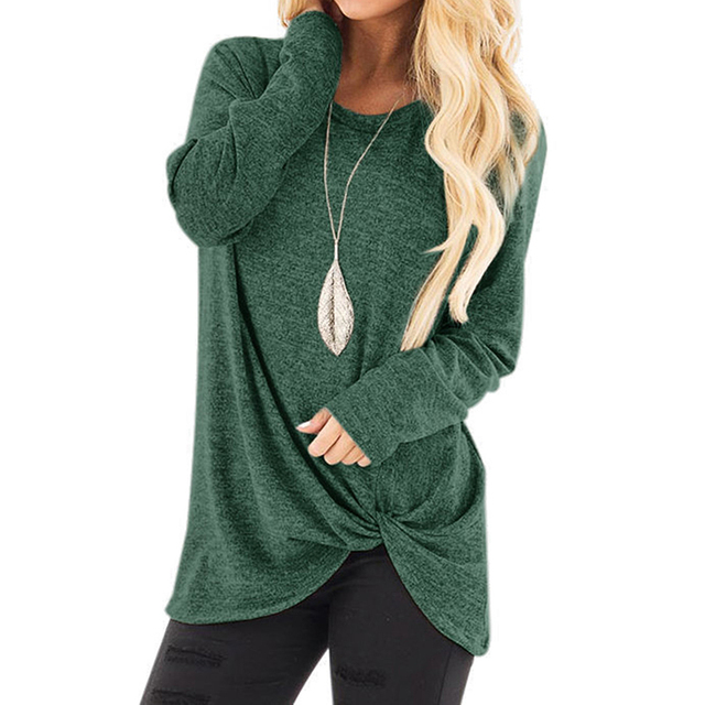 2020 New Spring Women's Long Sleeve Crewneck Pullovers Solid Color Casual Tunics Tops Blouses Twisted for Winter 8