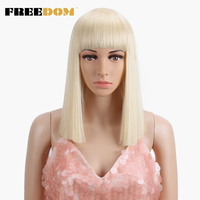 FREEDOM Womens Synthetic Bob Wigs 12 Inch Blonde Wig Short Straight Hair Wig Heat Resistant 613 Red Blue Color cosplay wig