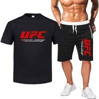 2Pcs sets Multicolor Ultimate Fighting Championship Ufc Cotton t shirts short sleeved casual men's T shirt & sports shorts Pant
