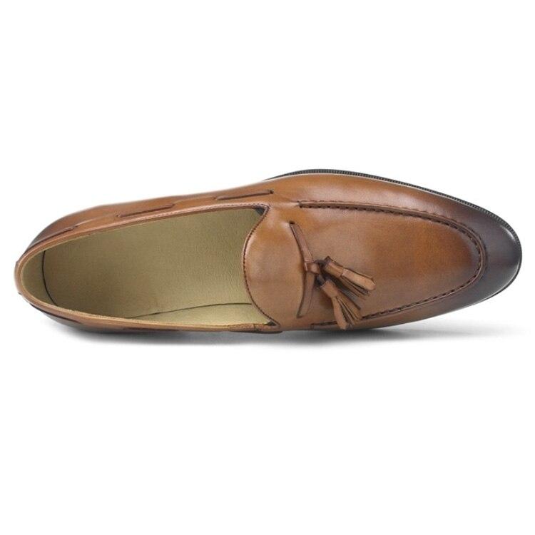 Wincheer/Новинка 2019 года; повседневные мужские лоферы из натуральной кожи на плоской подошве; мужские лоферы; удобная мужская обувь - 6