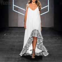 2021 abito estivo da donna Patchwork con volant cinturini ZANZEA Maxi abiti da donna senza maniche prendisole Casual abito solido Oversize 5XL