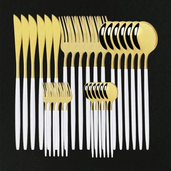 30 sztuk zestawy obiadowe biały zestaw złotych sztućców zestaw sztućców ze stali nierdzewnej złoty zestaw stołowy zachodniej łyżka widelec nóż zestaw sztućców tanie i dobre opinie uniturcky CN (pochodzenie) Zachodnia Metal STAINLESS STEEL Pigmentowane Stałe CE UE Lfgb Ekologiczne Na stanie Łyżka widelec zestaw noży