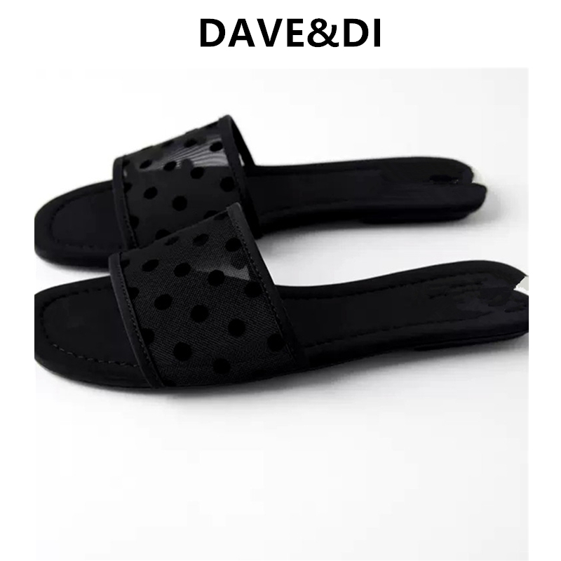 DAVE&DI Ins Fashion Blogger Gauze Splicing England Simple Black Beach Slippers Women Shoes Woman Shoes Women Flat Shoes Women