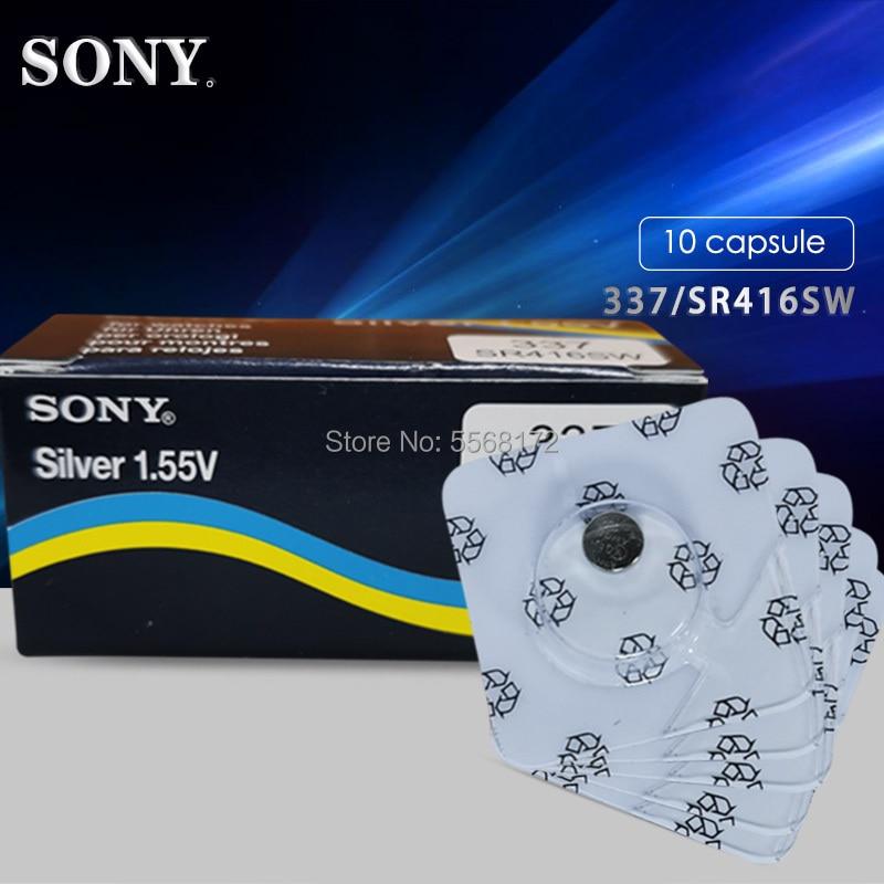 Кнопочные элементы питания Sony 337 SR416SW, 10 шт., батареи 1,55 в, монета, оксид серебра, аккумулятор LR416 623 D337 V337 SP337, однослойная упаковка