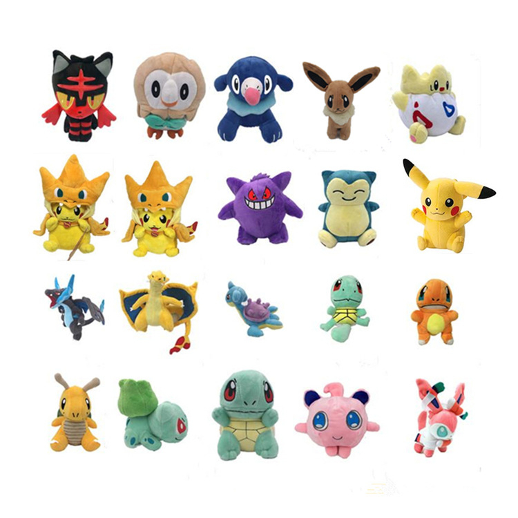 12-18cm Peluche Pikachu  Snorlax Charmander Mewtwo Dragonite Cute Soft Stuffed Dolls For Kids Christmas Birthday Gift