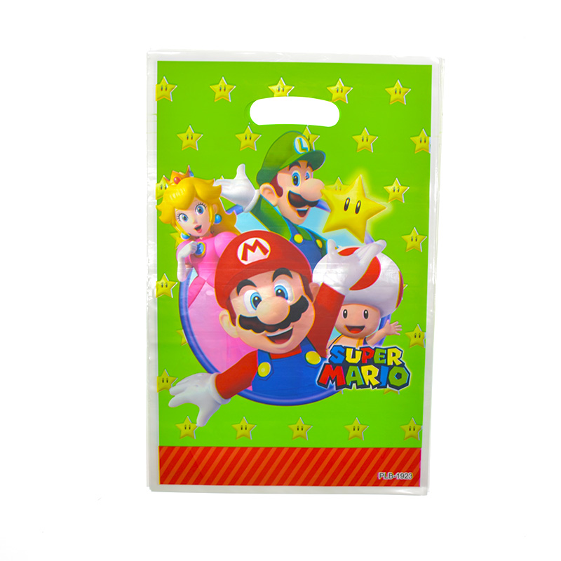 Super Mario Theme Party Supplies Plastic Loot Bags Happy Birthday Party Deco Kids Favors Baby Shower Gifts Food Candy Bags 20pcs