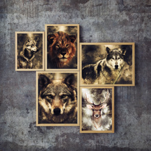 Animals Wolf Lion Sika Deer Eagle Leopard Wall Art Canvas Painting Nordic Posters And Prints Pictures For Kids Room Decor