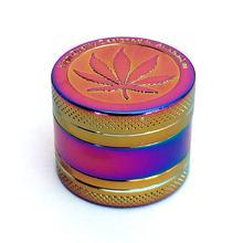 Moda folha de metal herbal tabaco moedor 3/4 camada com coletor de pólen raspador livre-prata/bronze/arco-íris